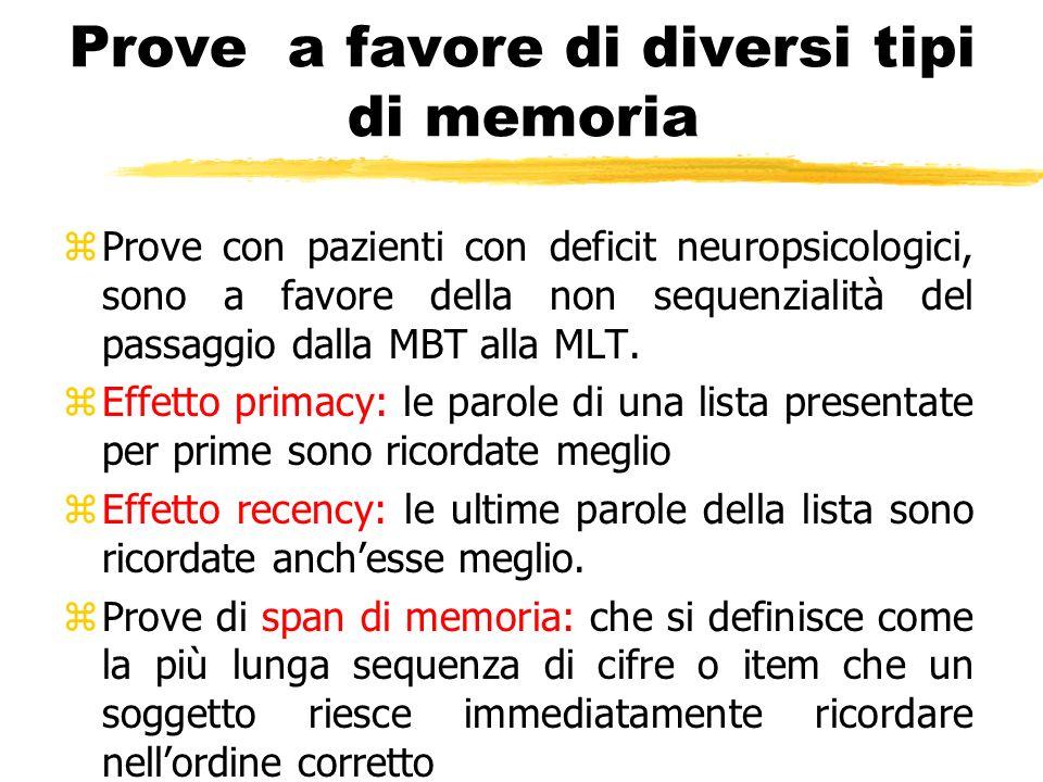 Prove a favore di diversi tipi di memoria