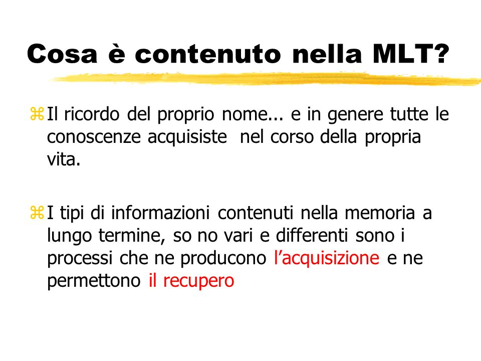 Cosa è contenuto nella MLT