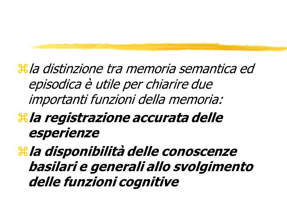 la distinzione tra memoria semantica ed episodica è utile per chiarire due importanti funzioni della memoria: