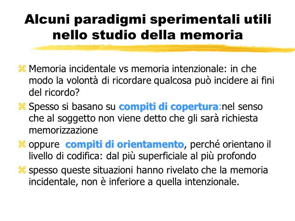 Alcuni paradigmi sperimentali utili nello studio della memoria