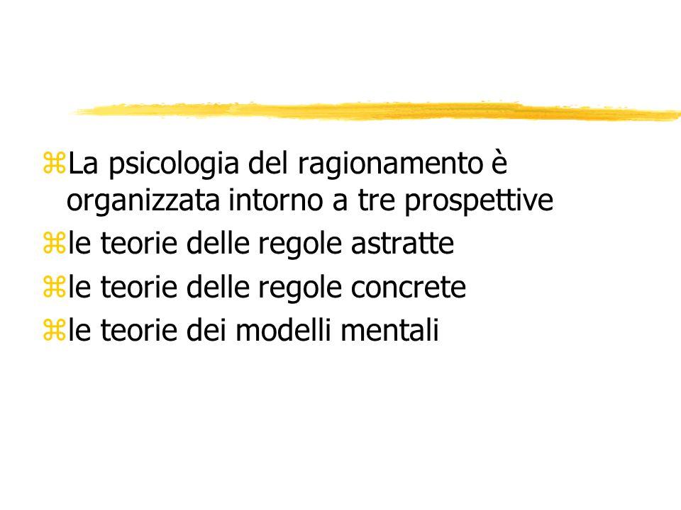 La psicologia del ragionamento è organizzata intorno a tre prospettive
