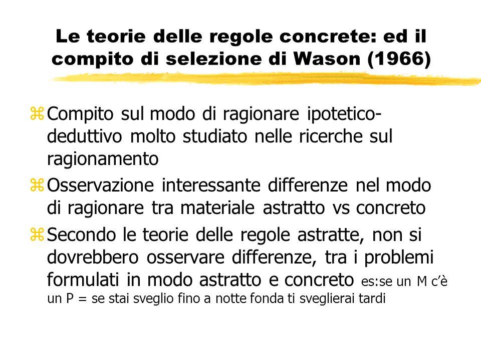 Le teorie delle regole concrete: ed il compito di selezione di Wason (1966)