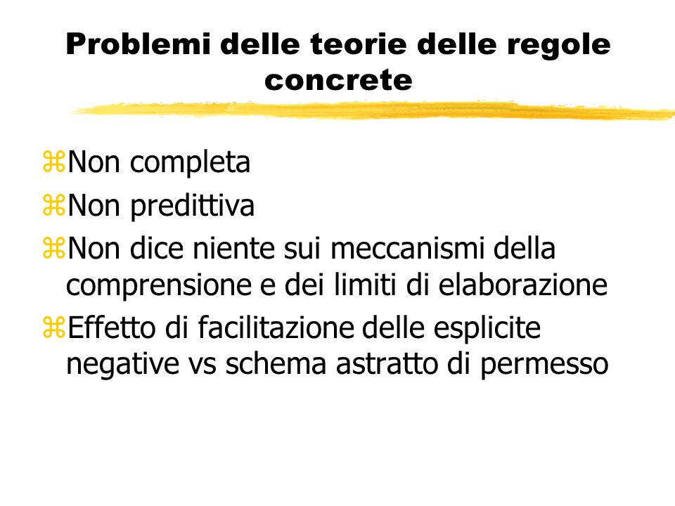 Problemi delle teorie delle regole concrete