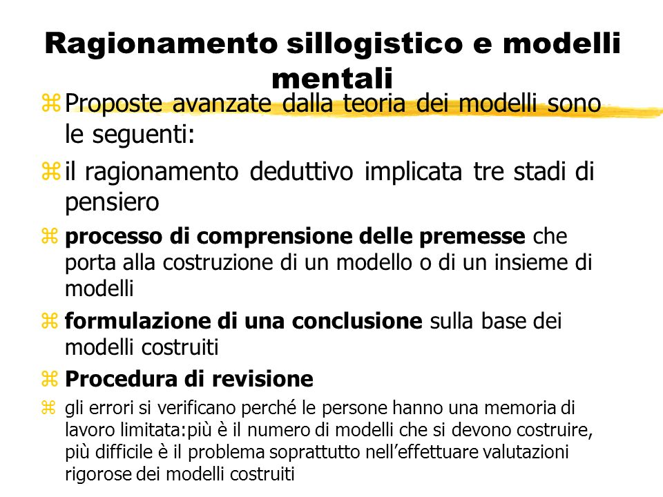 Ragionamento sillogistico e modelli mentali