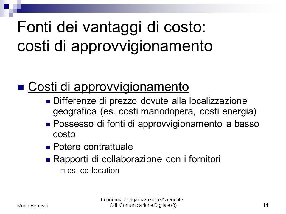Fonti dei vantaggi di costo: costi di approvvigionamento