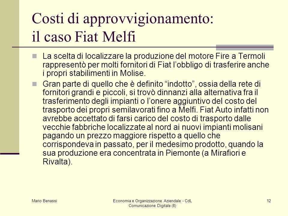 Costi di approvvigionamento: il caso Fiat Melfi