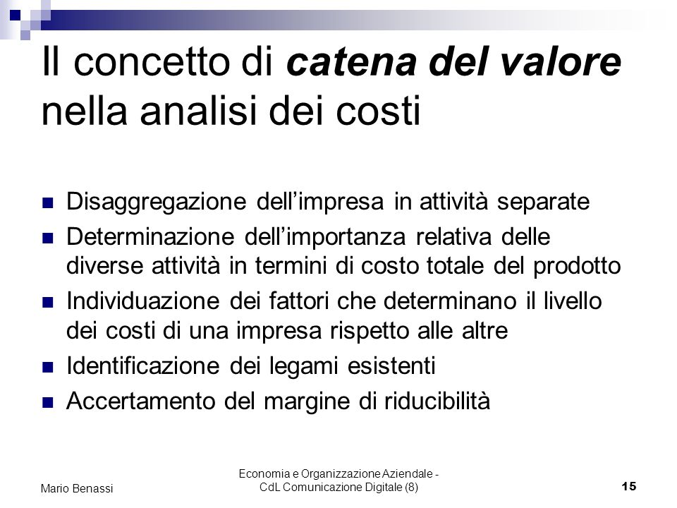 Il concetto di catena del valore nella analisi dei costi