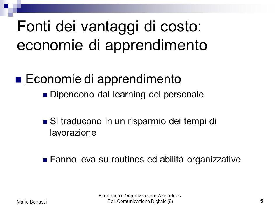 Fonti dei vantaggi di costo: economie di apprendimento