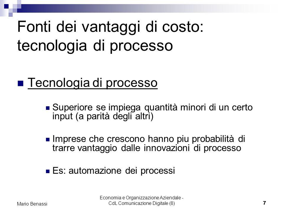 Fonti dei vantaggi di costo: tecnologia di processo