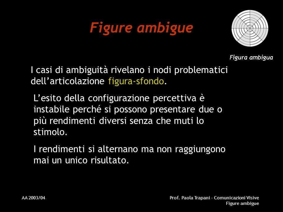 Figure ambigue Figura ambigua. I casi di ambiguità rivelano i nodi problematici dell'articolazione figura-sfondo.