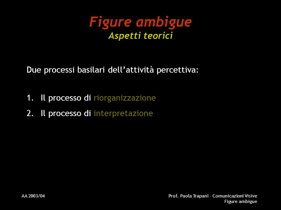 Figure ambigue Aspetti teorici