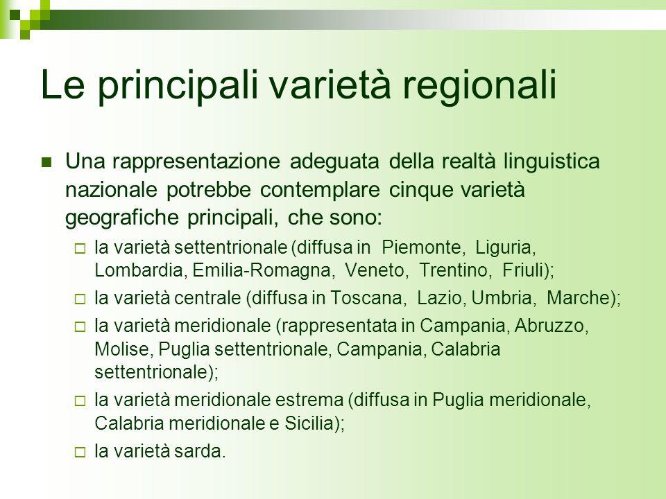 Le principali varietà regionali