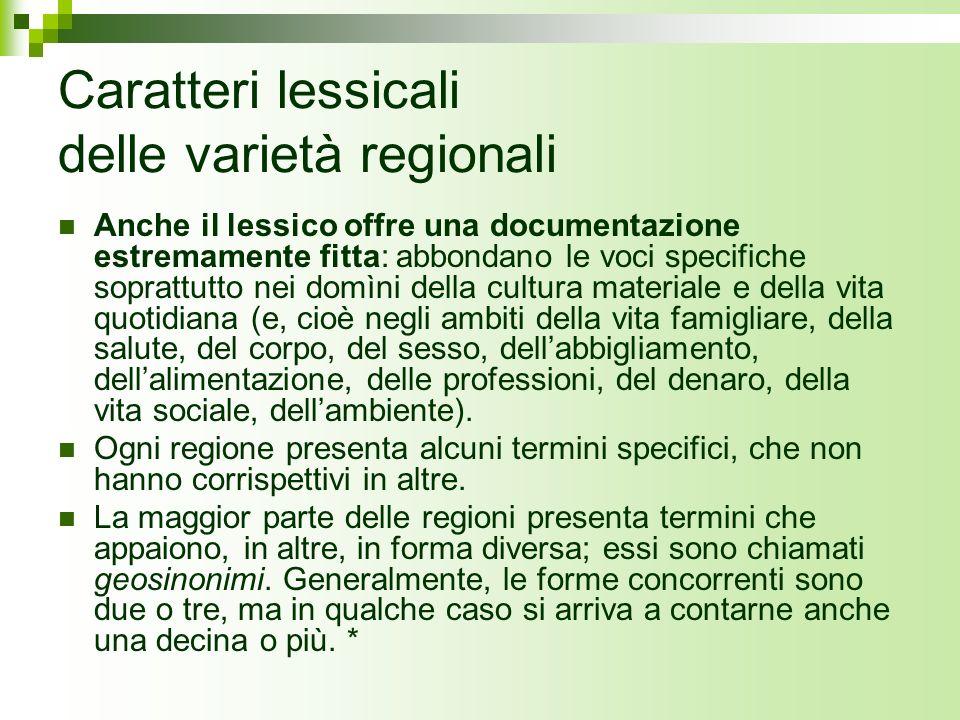 Caratteri lessicali delle varietà regionali