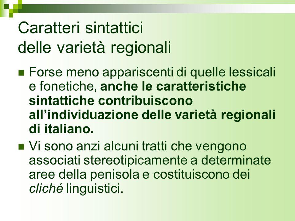 Caratteri sintattici delle varietà regionali