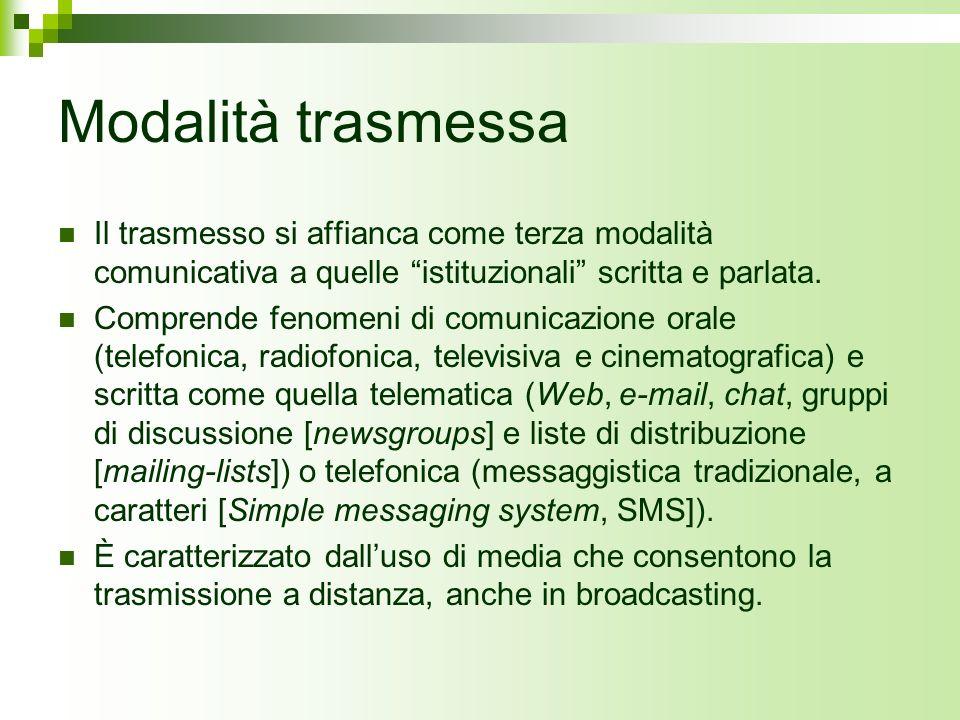 Modalità trasmessa Il trasmesso si affianca come terza modalità comunicativa a quelle istituzionali scritta e parlata.