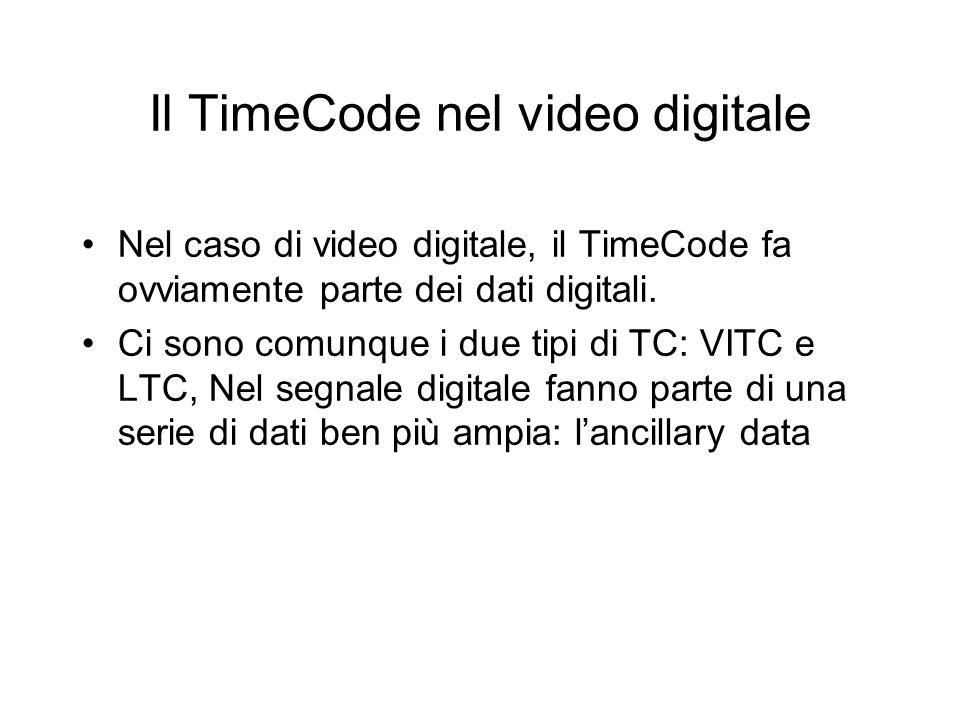Il TimeCode nel video digitale