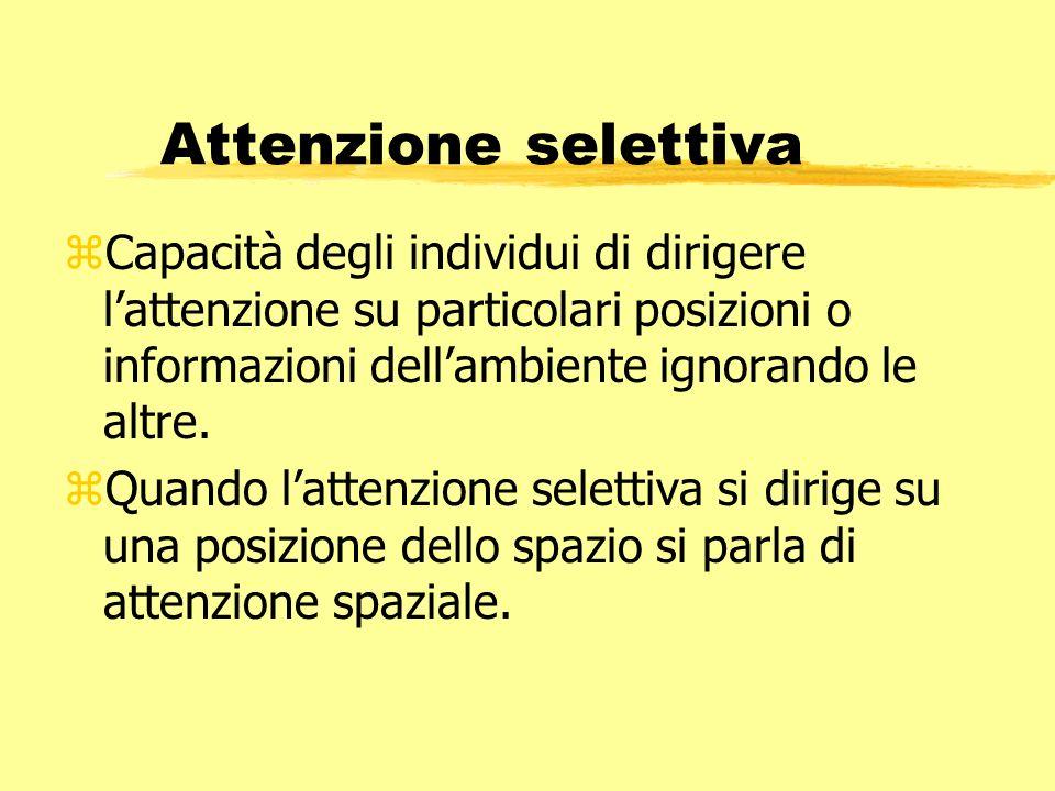 Attenzione selettiva Capacità degli individui di dirigere l'attenzione su particolari posizioni o informazioni dell'ambiente ignorando le altre.