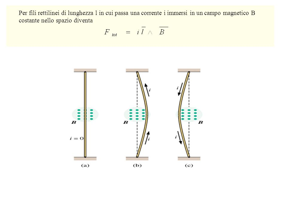 Per fili rettilinei di lunghezza l in cui passa una corrente i immersi in un campo magnetico B costante nello spazio diventa