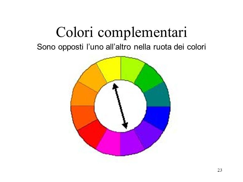 Colori complementari Sono opposti l'uno all'altro nella ruota dei colori