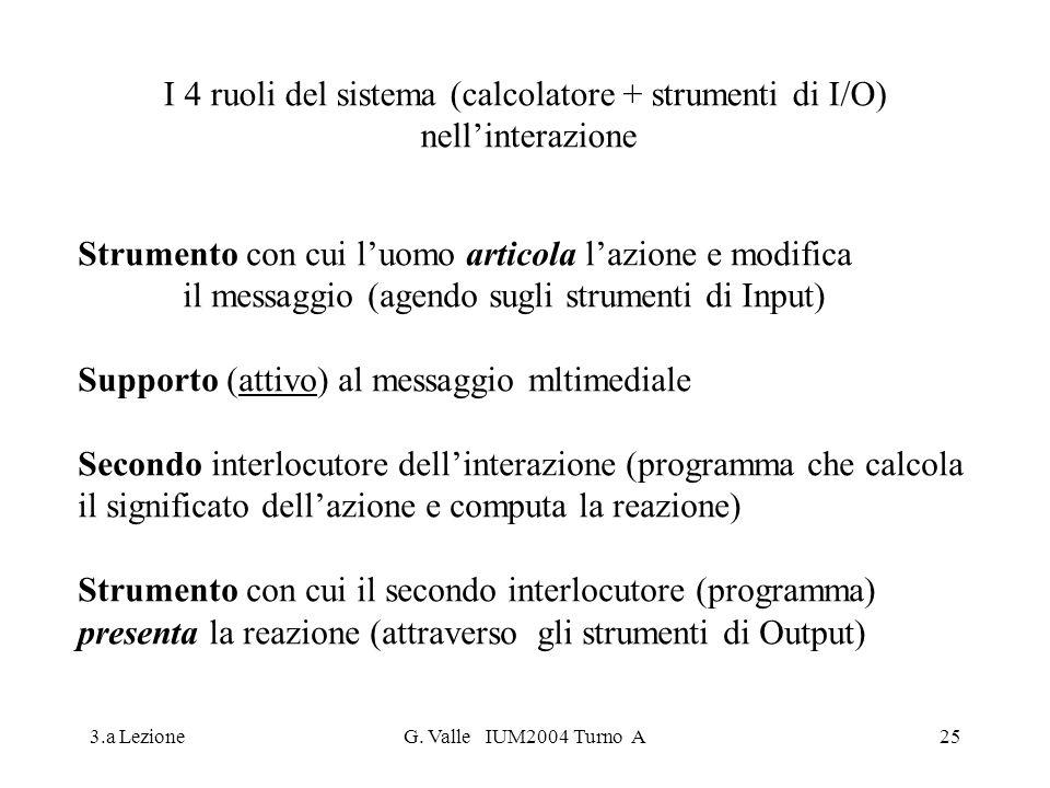 I 4 ruoli del sistema (calcolatore + strumenti di I/O)