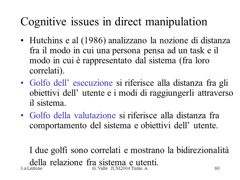 Cognitive issues in direct manipulation