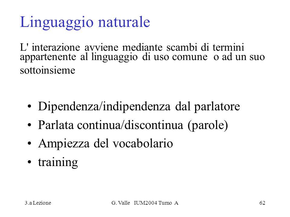 Linguaggio naturale L interazione avviene mediante scambi di termini appartenente al linguaggio di uso comune o ad un suo sottoinsieme