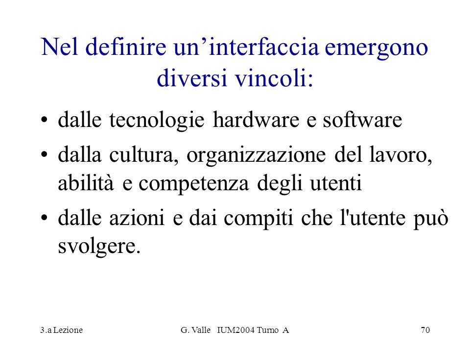 Nel definire un'interfaccia emergono diversi vincoli: