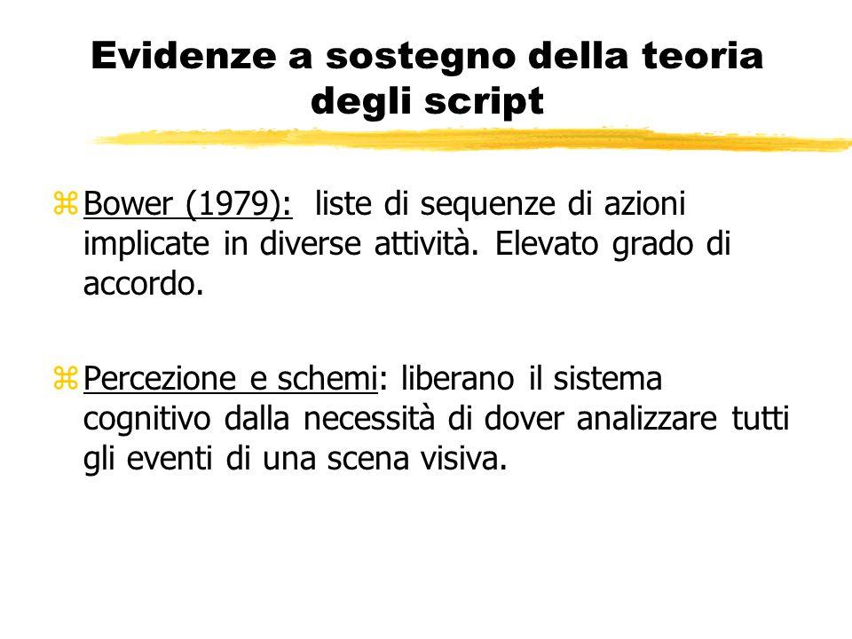 Evidenze a sostegno della teoria degli script