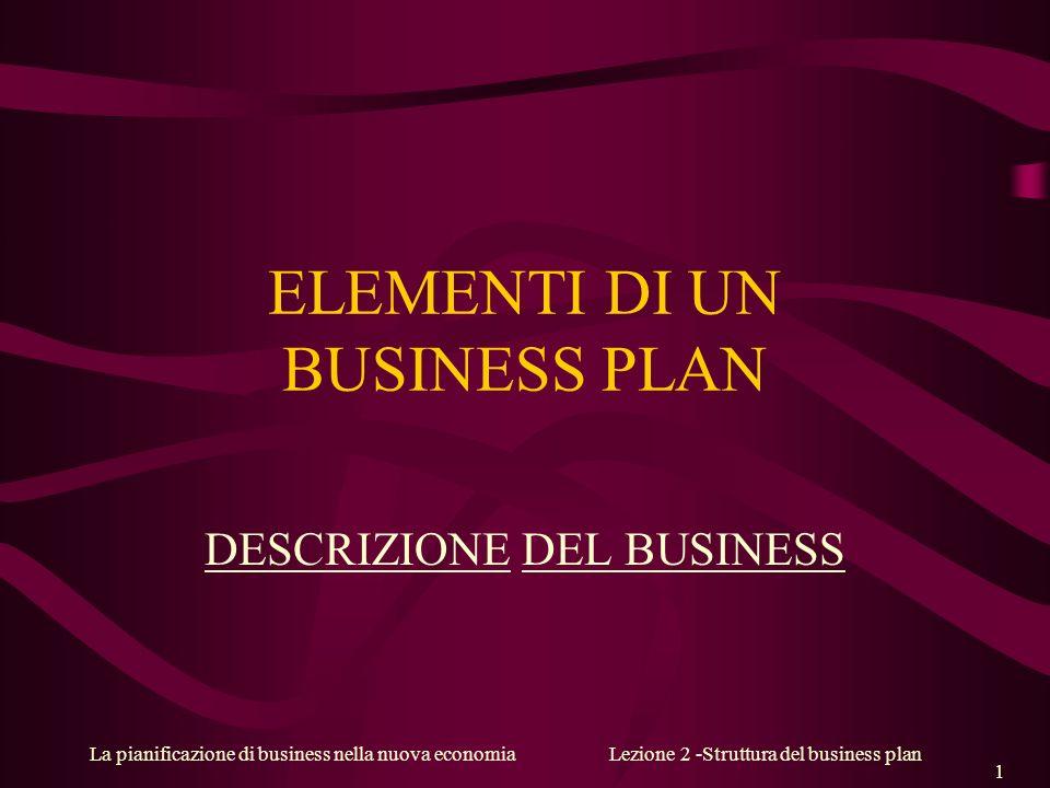 ELEMENTI DI UN BUSINESS PLAN
