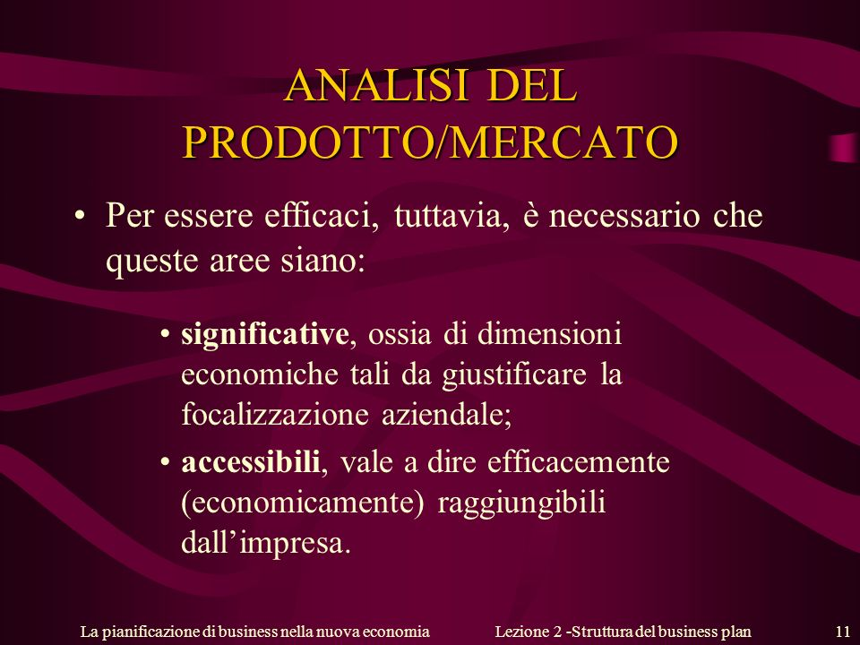 ANALISI DEL PRODOTTO/MERCATO