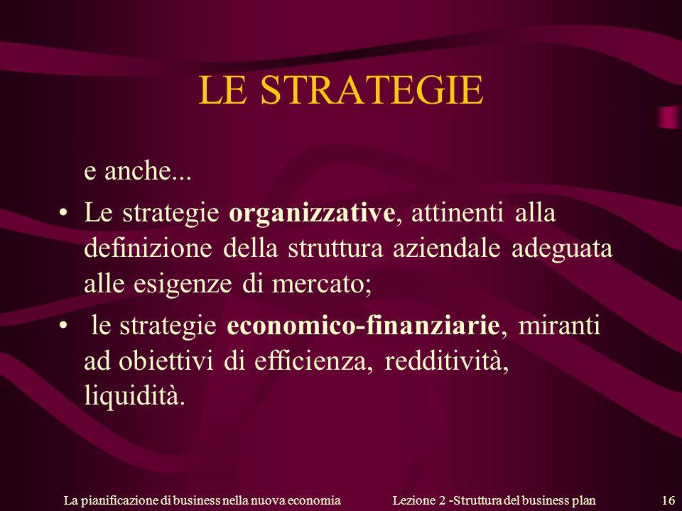 Lezione 2 -Struttura del business plan