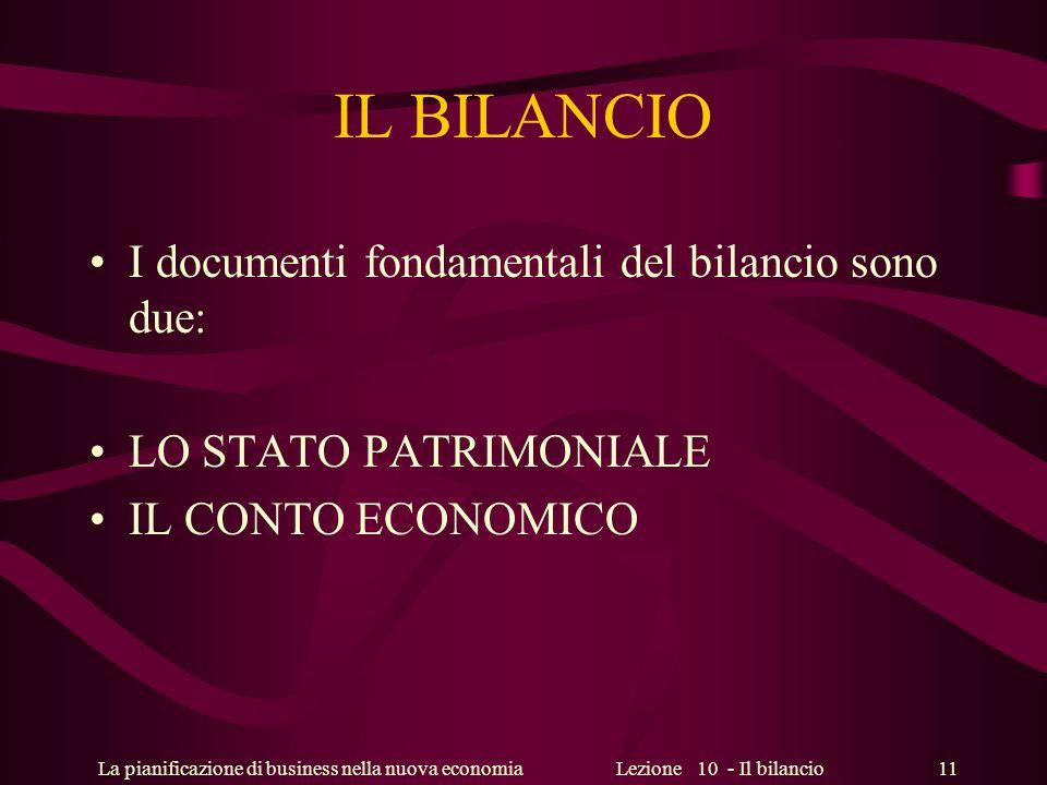 IL BILANCIO I documenti fondamentali del bilancio sono due: