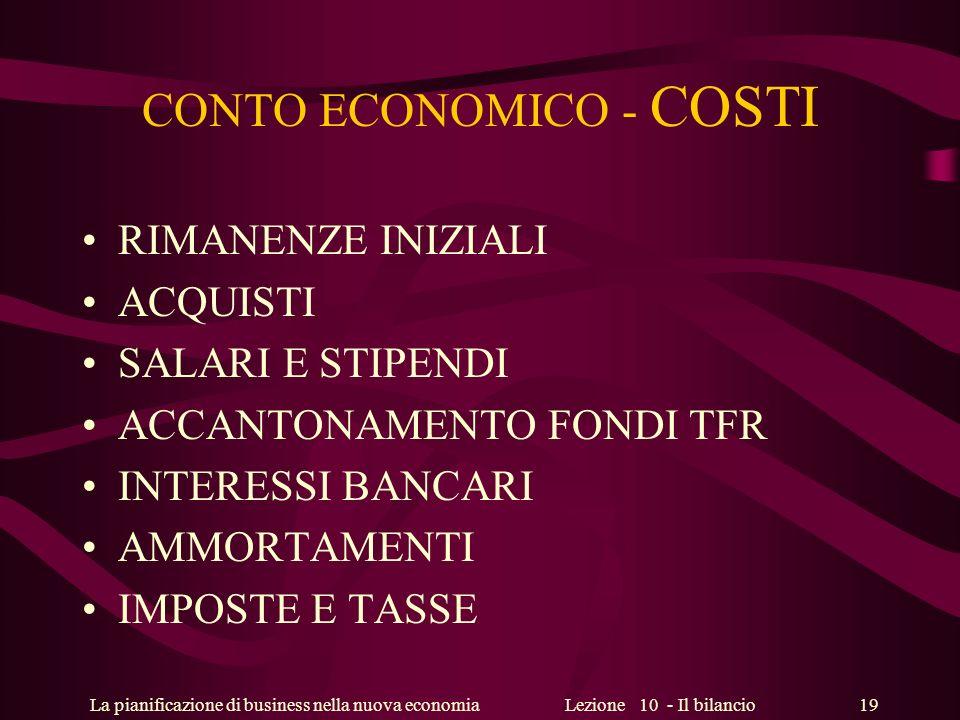 CONTO ECONOMICO - COSTI