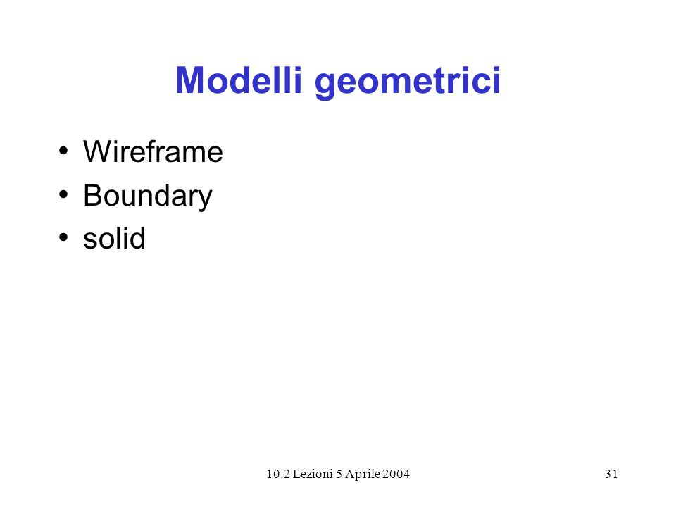 Modelli geometrici Wireframe Boundary solid 10.2 Lezioni 5 Aprile 2004