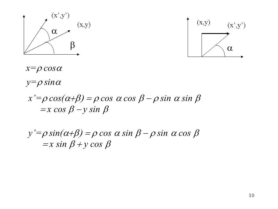 x'=r cos(a+b) = r cos a cos b - r sin a sin b = x cos b - y sin b