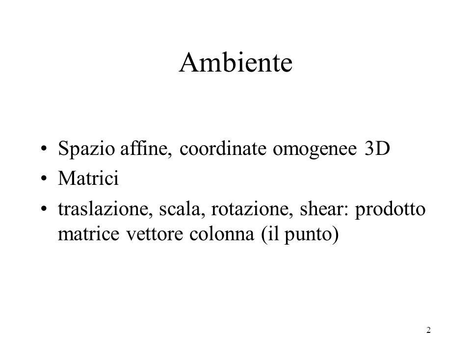 Ambiente Spazio affine, coordinate omogenee 3D Matrici