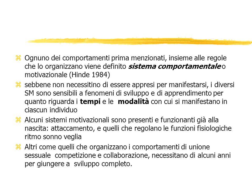 Ognuno dei comportamenti prima menzionati, insieme alle regole che lo organizzano viene definito sistema comportamentale o motivazionale (Hinde 1984)