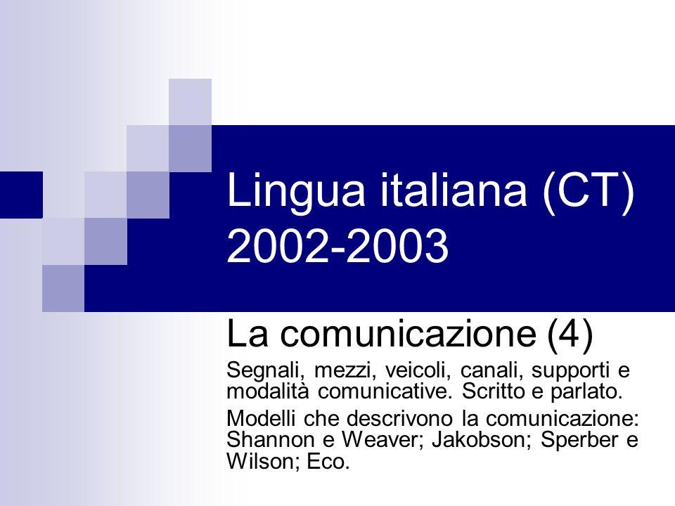 Lingua italiana (CT) 2002-2003 La comunicazione (4)