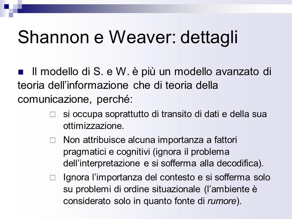 Shannon e Weaver: dettagli