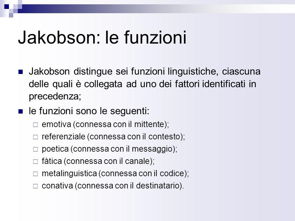 Jakobson: le funzioni Jakobson distingue sei funzioni linguistiche, ciascuna delle quali è collegata ad uno dei fattori identificati in precedenza;
