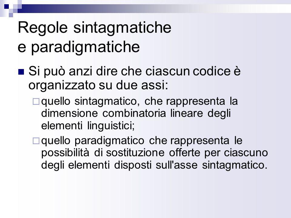 Regole sintagmatiche e paradigmatiche