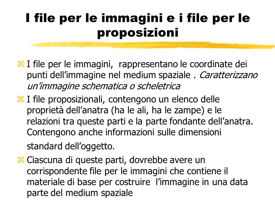 I file per le immagini e i file per le proposizioni