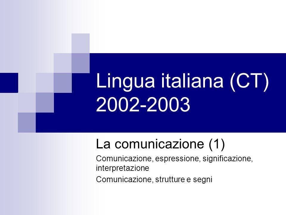 Lingua italiana (CT) 2002-2003 La comunicazione (1)