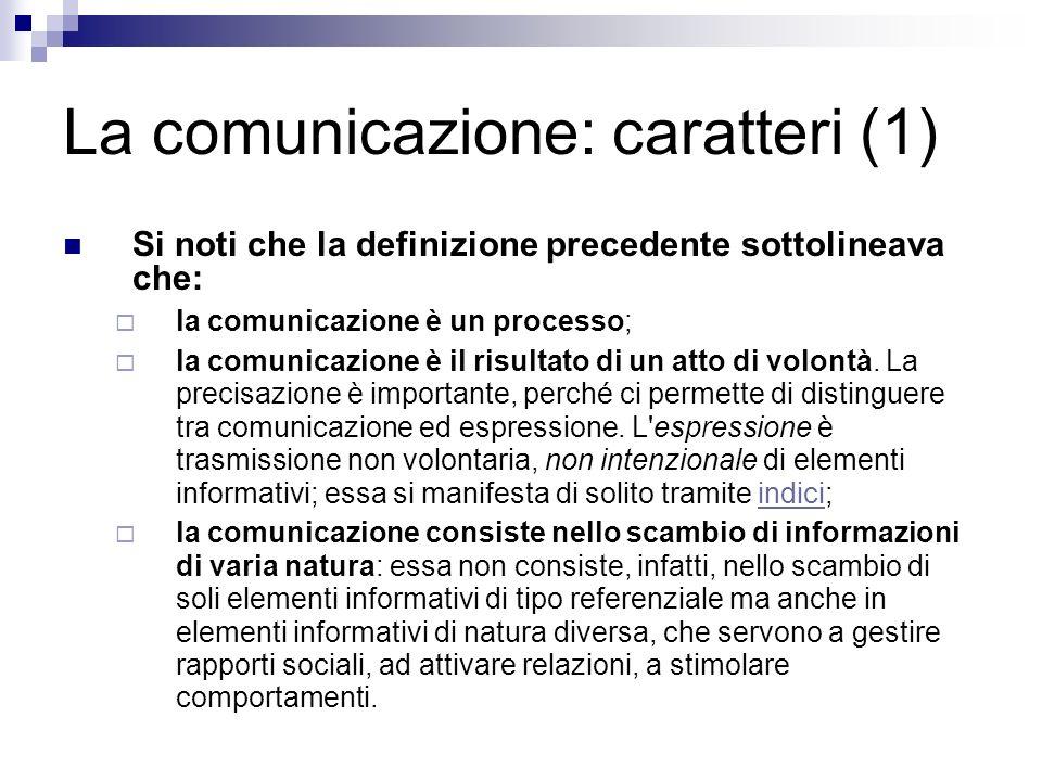 La comunicazione: caratteri (1)