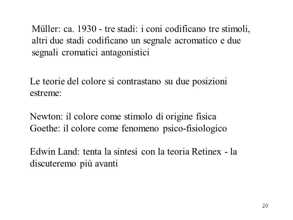 Müller: ca. 1930 - tre stadi: i coni codificano tre stimoli,