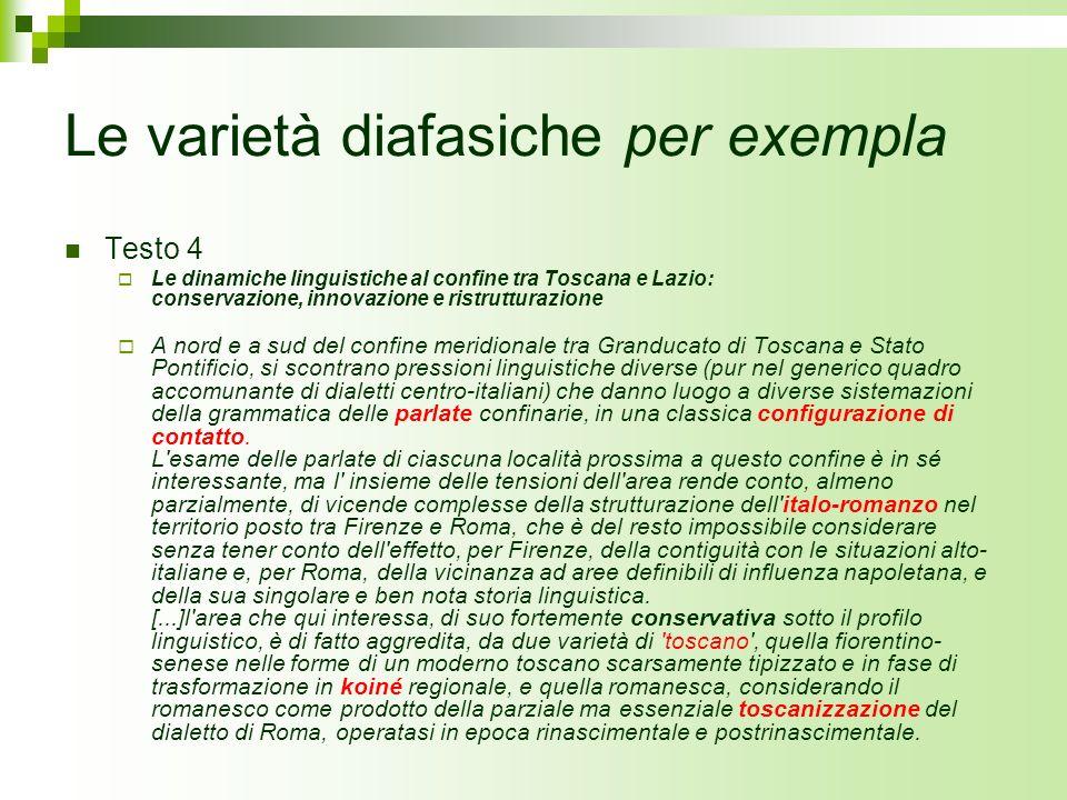 Le varietà diafasiche per exempla