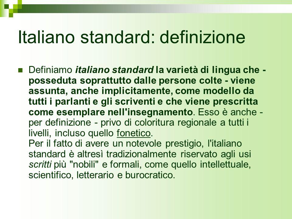 Italiano standard: definizione