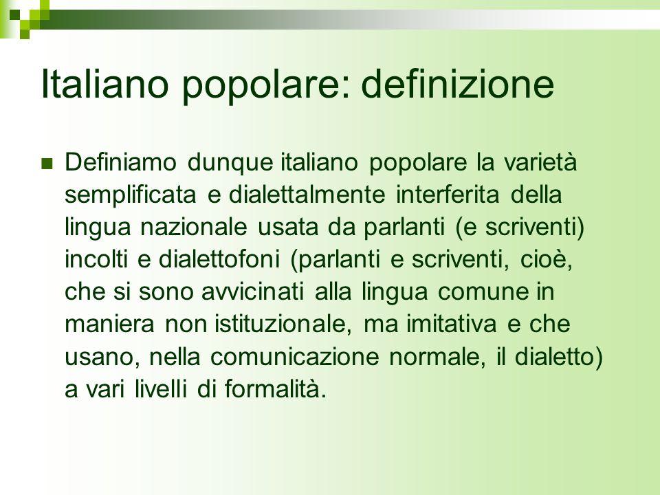 Italiano popolare: definizione
