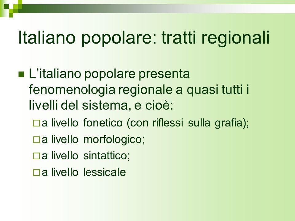 Italiano popolare: tratti regionali
