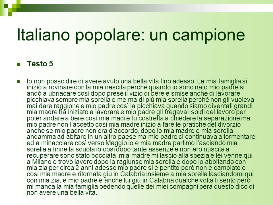 Italiano popolare: un campione